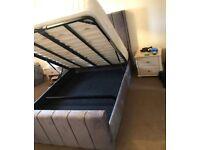 🛑🛑🛑SUPER SALE OFFER🛑🛑🛑🛑ARIZONA PlushVelvet Dark Grey(Steel) DOUBLE BED WITH OTTOMAN STORAGE🌈