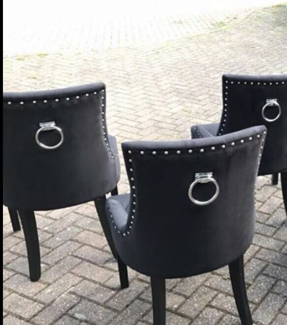 Black Velvet Door Knocker Dining Chairs X6