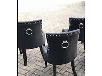 Black velvet door knocker dining chairs x4