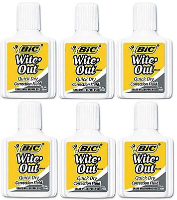 6x Bic Wite Out Quick Dry Correction Fluid White Out Foam Brush .7oz Wholesale