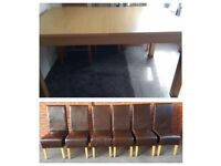 Ikea Bjursta Oak Veneer Extending Table & 6 Brown High Back Leather Chairs FREE DELIVERY 682