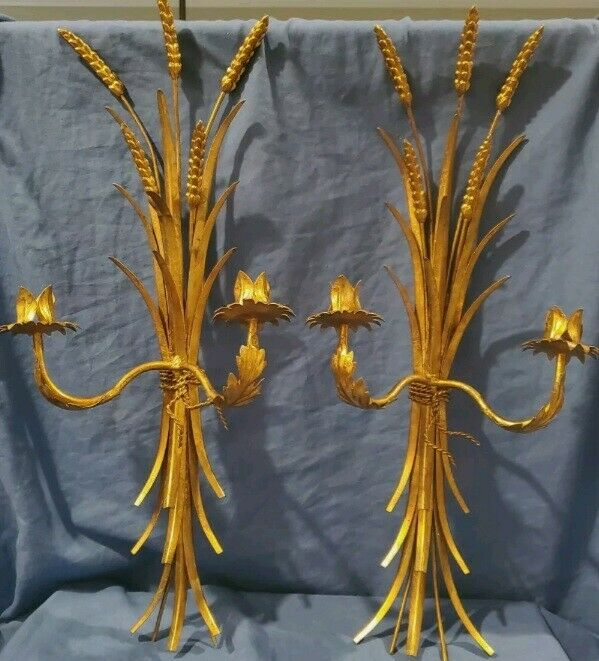 "VTG PAIR 24"" HOLLYWOOD REGENCY WHEAT SHEAF WALL CANDLE HOLDER SCONCES  GILT"