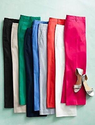 NEW $69 TALBOTS Chelsea Hot Fuchsia Wide Leg Crop Pants Sz 4P,4 Petite