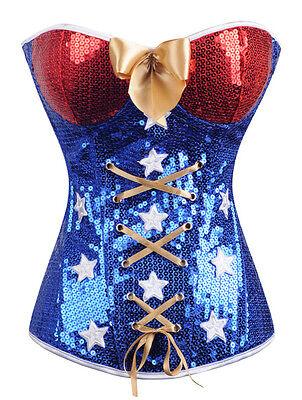 Wonder Woman Superhero Comic Costume Corset Bustier Size S-6XL Blue SCG A2366