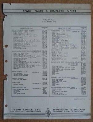 Vauxhall 10hp model 1940   Lucas Parts List 430