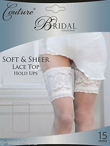 LUXURY-COUTURE-BRIDAL-COLLECTION-STOCKINGS-HOLD-UPS-SHEER-LACE-TOP-WHITE-IVORY
