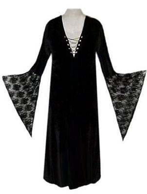 PLUS SIZE Sexy Black Velvet Lace-up Dress Witch Costume Gothic Short or - Black Lace Kleid Kostüm