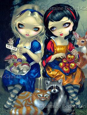 Jasmine Becket-Griffith art print SIGNED Alice and Snow White wonderland fairy ()
