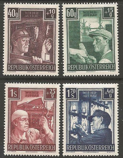 AUSTRIA SG1225/8 1951 RECONSTRUCTION FUND MNH