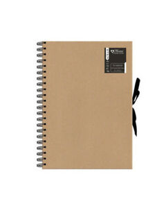 A4 Kraft Ribbon Tie Scrapbook Photo Album Display Book Wiro Bound 40 Sheet SCEL