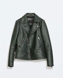 Zara faux leather coat (green)