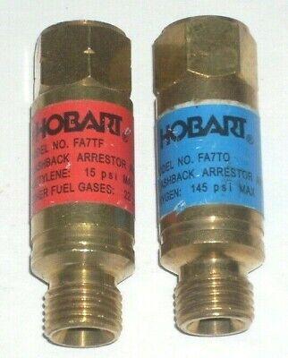 Hobart Torch Style Flashback Arrestor Set Oxygen Acetylene Or Lp Gas Cutting