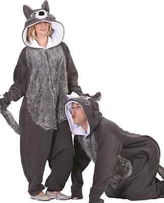 WILLIE THE WOLF ADULT COSTUME FURRY BIG BAD WOLF GREY ANIMAL PAJAMAS MENS WOMENS