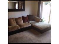 Dark Brown Tetrad Hemingway, (Hemmingway) Leather Corner Sofa and matching arm chair