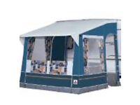 Blue Dorema Toronto caravan porch awning with lightweight fibre glass poles