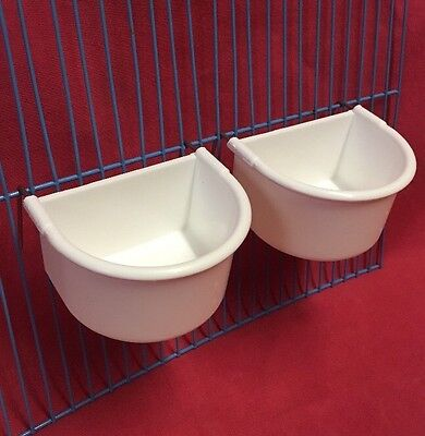 2 x Cat Kitten 9 cm Cage Clip On Water Food Bowl 2 Hook Travel Carrier Transport