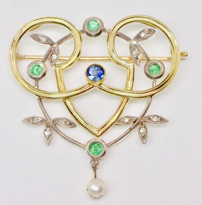 0.25ct ROSE CUT DIAMOND MIX STONE VICTORIAN LOOK 925 SILVER VALENTINE BROOCH PIN