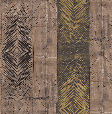 Wallpaper, System Solution, Faux, Block Stripes, Gleam, Brown, Whiskey, Beige