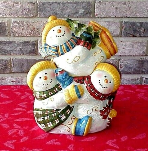Tumbling Snowmen Cookie Jar Christmas Susan Winget Certified International