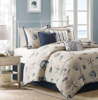 Coastal Bedding Set Queen Cotton Comforter Bed Cover Beach Ocean Sea Shells