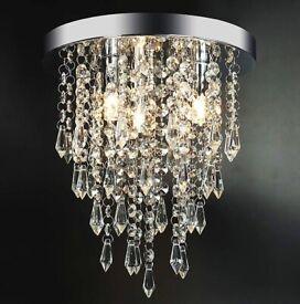 Luxury LED Crystal Chandelier Ceiling Light for Living Room Kitchen Hallway Bedroom, 25cm Diameter