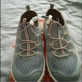 Girls shoes blue and grey U.K size 4. Brand New.