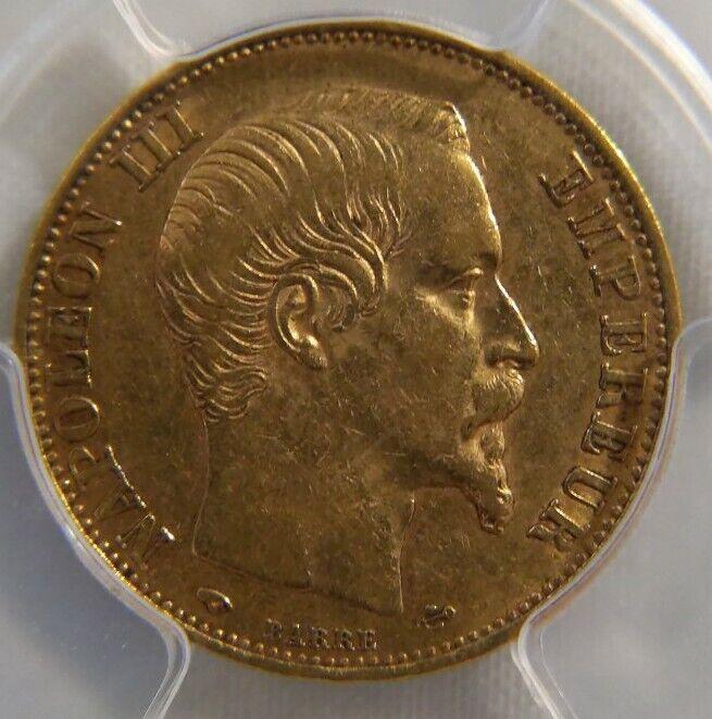1859 A Napoleon III France Gold 20 Franc pcgs AU50