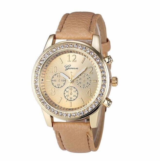 $14.00 - Hot Geneva Gold Stainless Luxury Leather Women Lady Quartz Dress Fashion Watch
