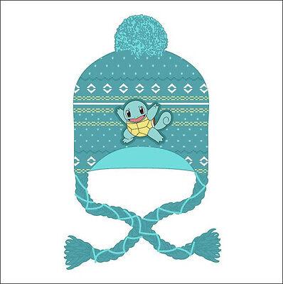Nintendo Pokemon Squirtle Jacquard Pom Beanie Cap Hat Laplander Costume Cosplay