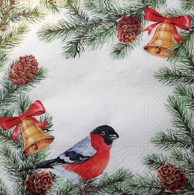 20 x Paper Napkins  Christmas Bird Tree for Decoupage Party Lunch and Table 130