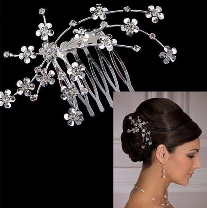Bridal Wedding Crystal Rhinestone Plum Flower Hair Clips