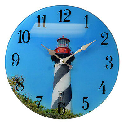 St.Augustine Lighthouse Glass Wall Clock 13