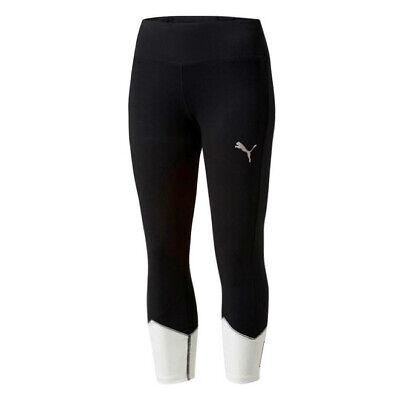 Puma Womens Spark Logo 3/4 Leggings Gym Running Tight Black 517063 01