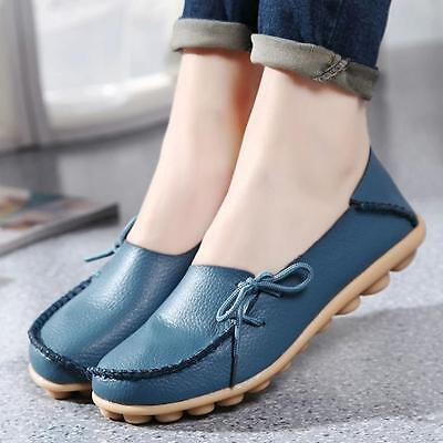FASHION WOMEN LEATHER SHOES CASUAL SLIP ON BOWKNOT FLAT LOAFERS SINGLE SHOES  1