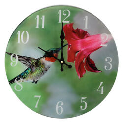 Hummingbird Glass Wall Clock  13X 13 Home Wall Decor Trees Woods Forest New