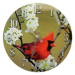 Cardinal Glass Wall Clock  13X 13 Home Wall Decor Northern Red Bird Animal New