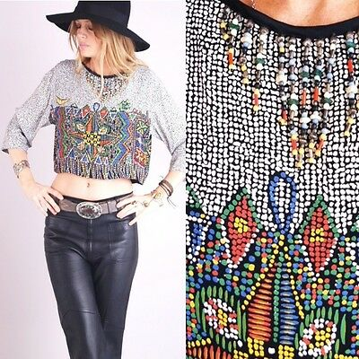 Vtg 80s BEADED AZTEC Native Mosaic Southwestern FRINGE Ethnic Tribal CROPPED TOP on Rummage