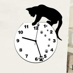 Classic Cat Acrylic Clock Modern Design Wall Clock Home Decor Watch Wall Sticker
