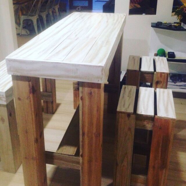 Bar Table with Matching Bench Stools | Outdoor Dining ...