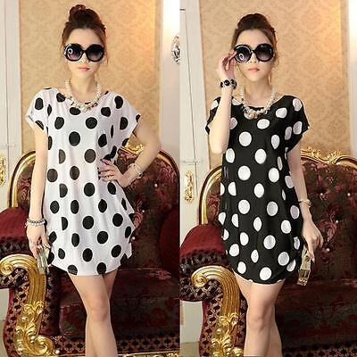 Sale Women Blouse Short Sleeves Polka Dot casual Loose Print Mini Dress T Shirt