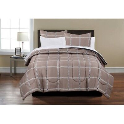 Complete Bedding Set 8 Piece Full Size Bed In A Bag Plaid Comforter Sheets Shams