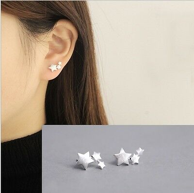 Women 925 Sterling Silver 3 Stars Star Ear Stud Climber Stud Earrings Gift Box
