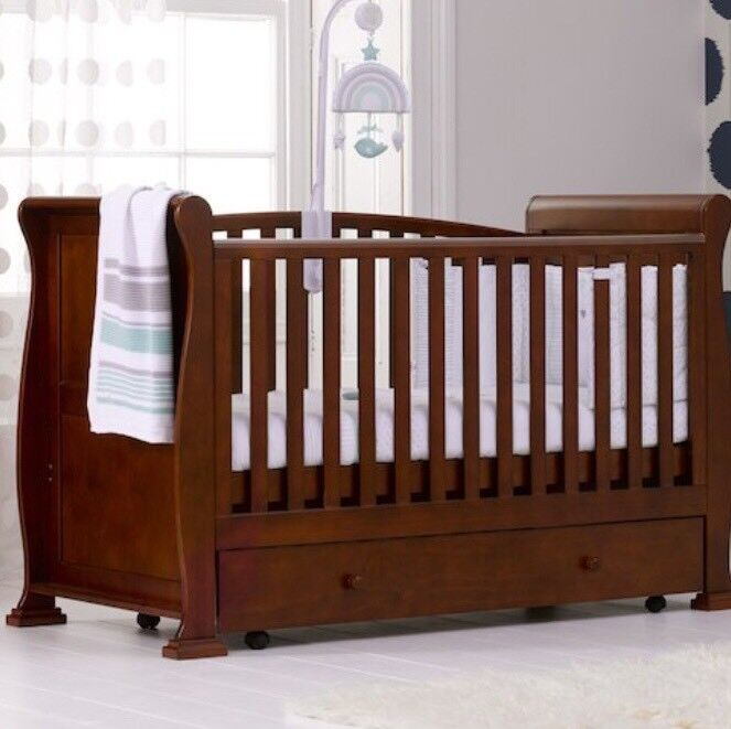 Babies R Us Wooden Sleigh Cotbed Dark Finish In