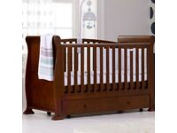 Babies R Us Wooden Sleigh Cotbed - Dark Finish
