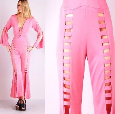 Vtg 70s Barbie BUBBLE GUM PINK Bell Bottom Disco CAGE CUTOUT Plunging V JUMPSUIT on Rummage