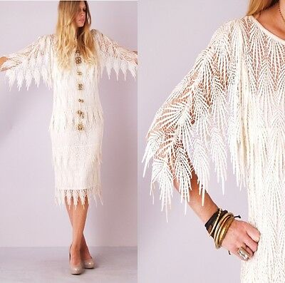 Vtg 80s CROCHET FRINGE Kimono Cape Slv Cutout Angel FLAPPER Wedding Midi DRESS on Rummage