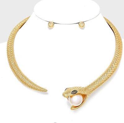Snake Cobra Cuff Choker Gold Costume Pearl Chunky Chain Stud Necklace Set](Cobra Snake Costume)