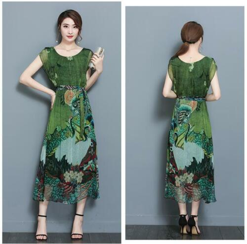 2019 Womens Floral Print Dress Silk Vintage Chinese Style Summer Dress Plus Size