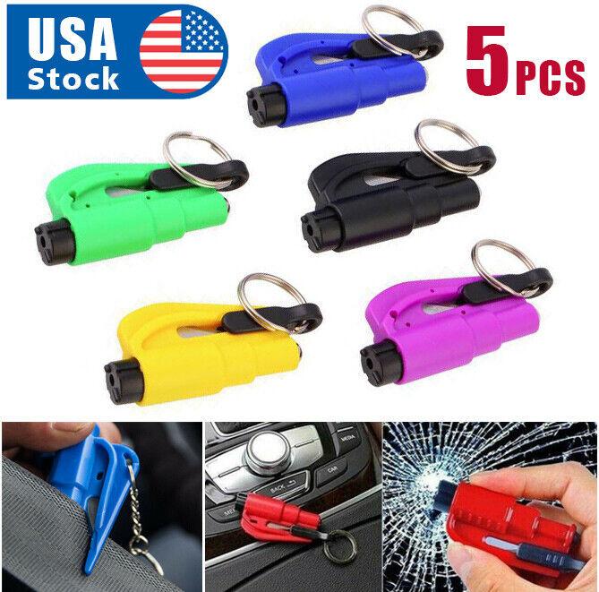 5PCS Emergency  Window Glass Hammer Car Breaker Tool& Seat Belt Cutter Key Chain Hammers & Mallets