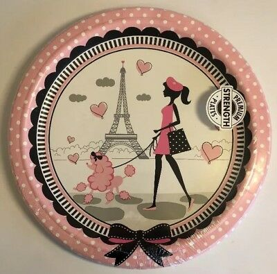Paris Birthday Party Luncheon Plates Eiffel Tower Pink Poodle Beret Dots Bow